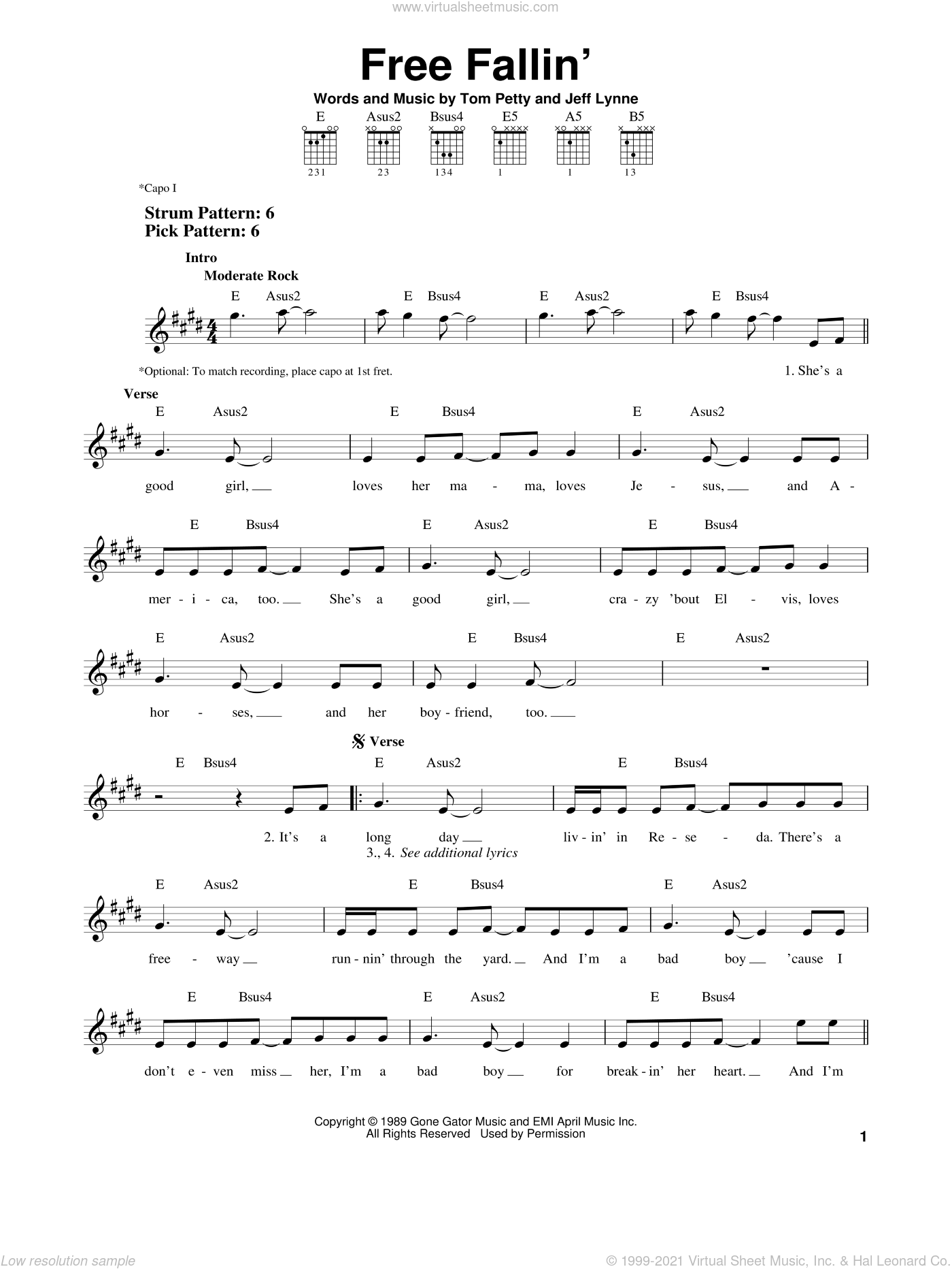 Free Fallin' sheet music for guitar solo (chords) by Tom Petty and Jeff Lynne, easy guitar (chords)