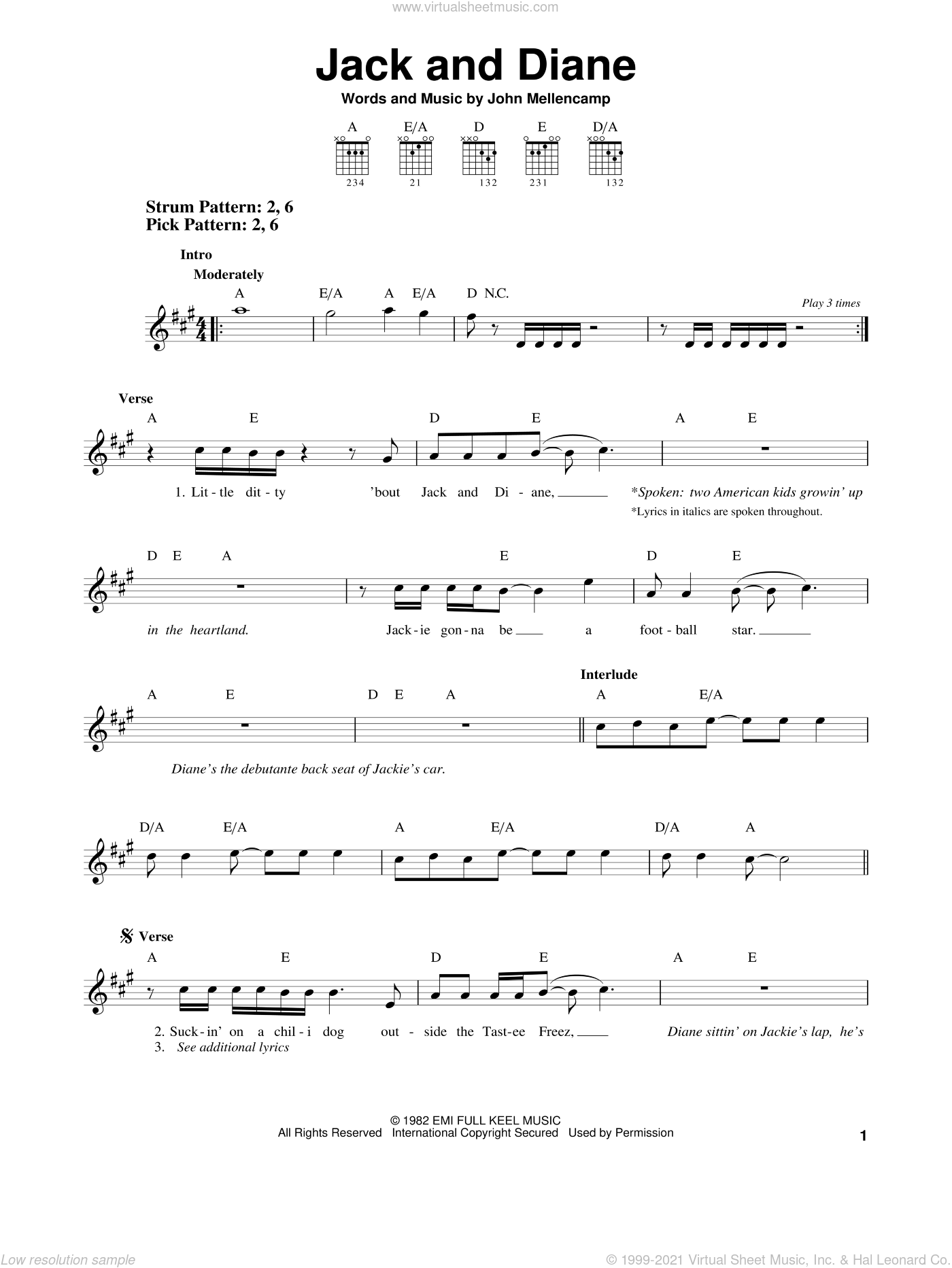 Jack And Diane sheet music for guitar solo (chords) by John Mellencamp, easy guitar (chords)