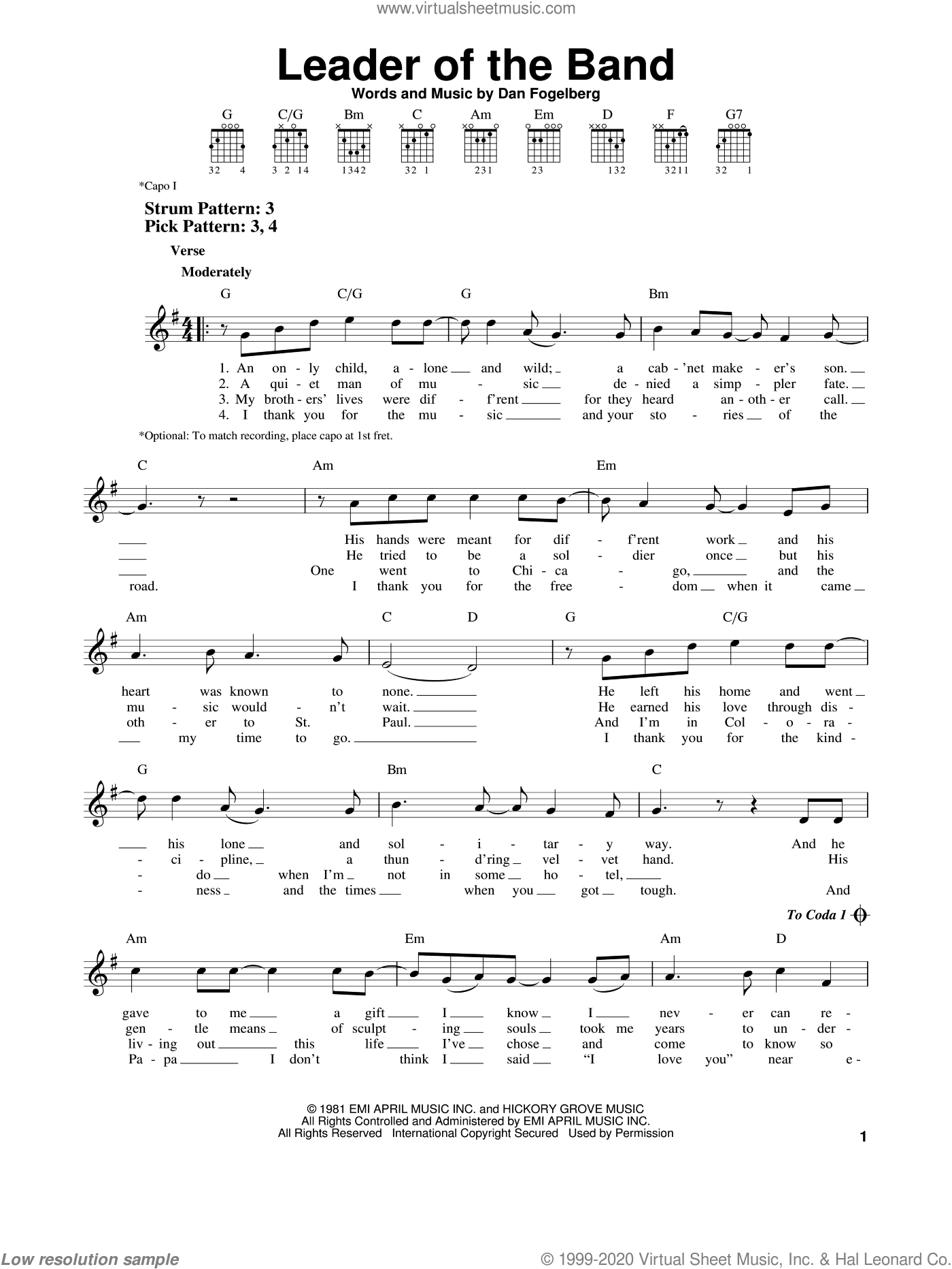 Leader Of The Band sheet music for guitar solo (chords) by Dan Fogelberg. Score Image Preview.