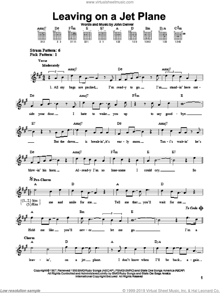 Leaving On A Jet Plane sheet music for guitar solo (chords) by John Denver and Peter, Paul & Mary. Score Image Preview.