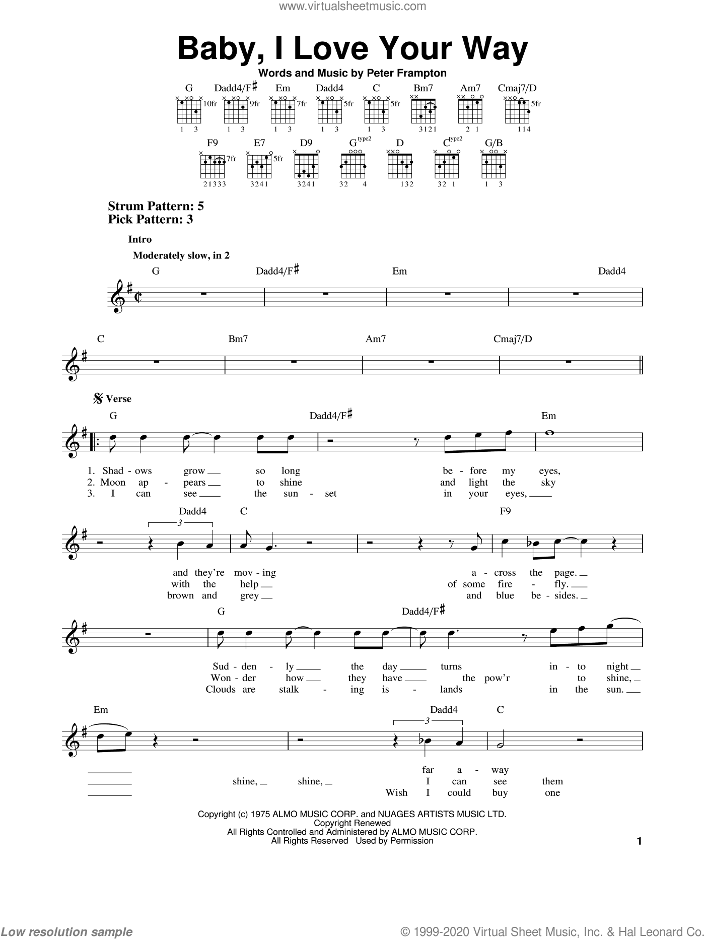 Baby, I Love Your Way sheet music for guitar solo (chords) by Peter Frampton, easy guitar (chords)