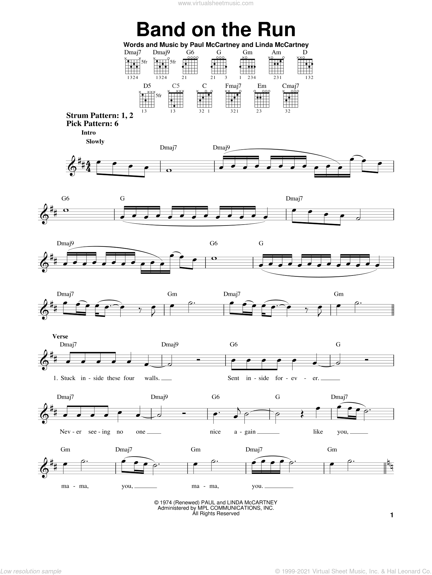 Band On The Run sheet music for guitar solo (chords) by Paul McCartney, Paul McCartney and Wings and Linda McCartney, easy guitar (chords)