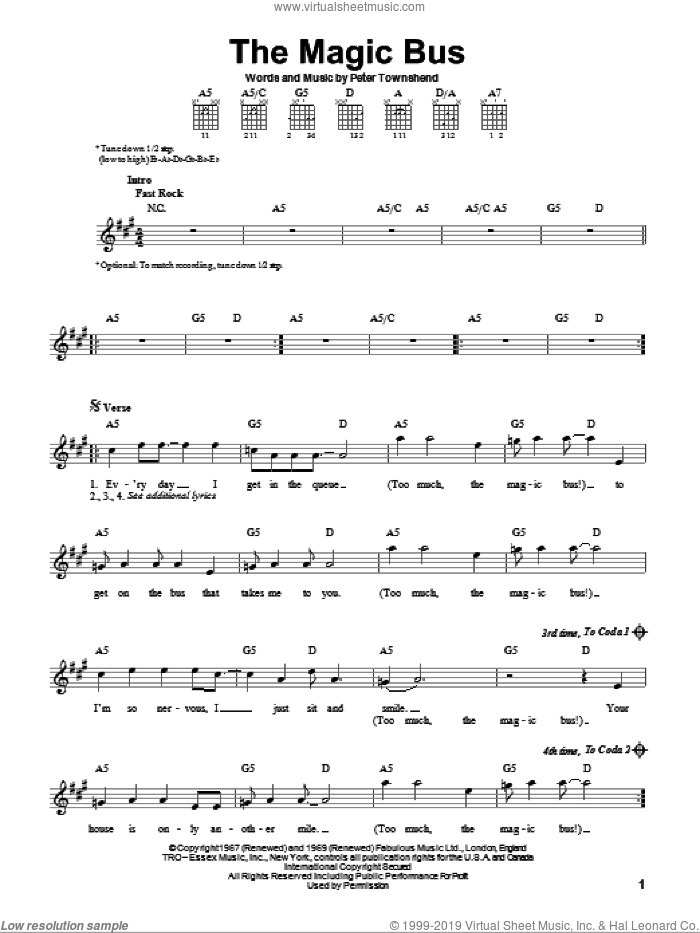 Magic Bus sheet music for guitar solo (chords) by The Who and Pete Townshend, easy guitar (chords)