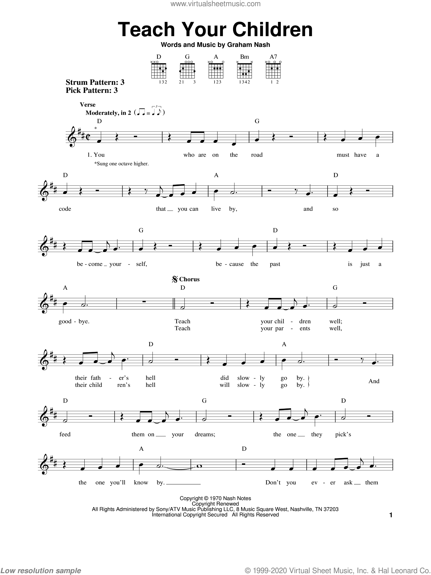 Teach Your Children sheet music for guitar solo (chords) by Crosby, Stills, Nash & Young and Graham Nash, easy guitar (chords)
