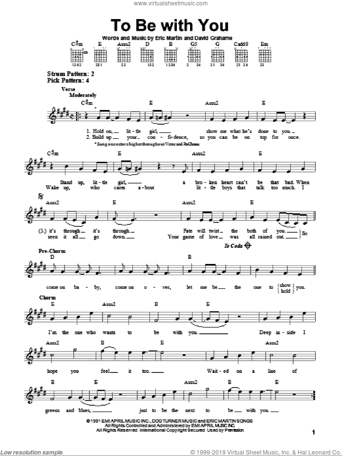 To Be With You sheet music for guitar solo (chords) by Eric Martin