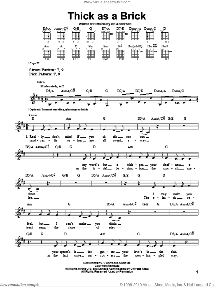 Thick As A Brick sheet music for guitar solo (chords) by Ian Anderson. Score Image Preview.