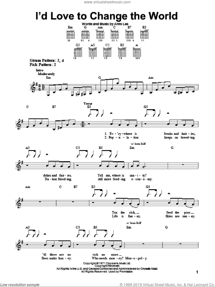 I'd Love To Change The World sheet music for guitar solo (chords) by Ten Years After and Alvin Lee, easy guitar (chords). Score Image Preview.