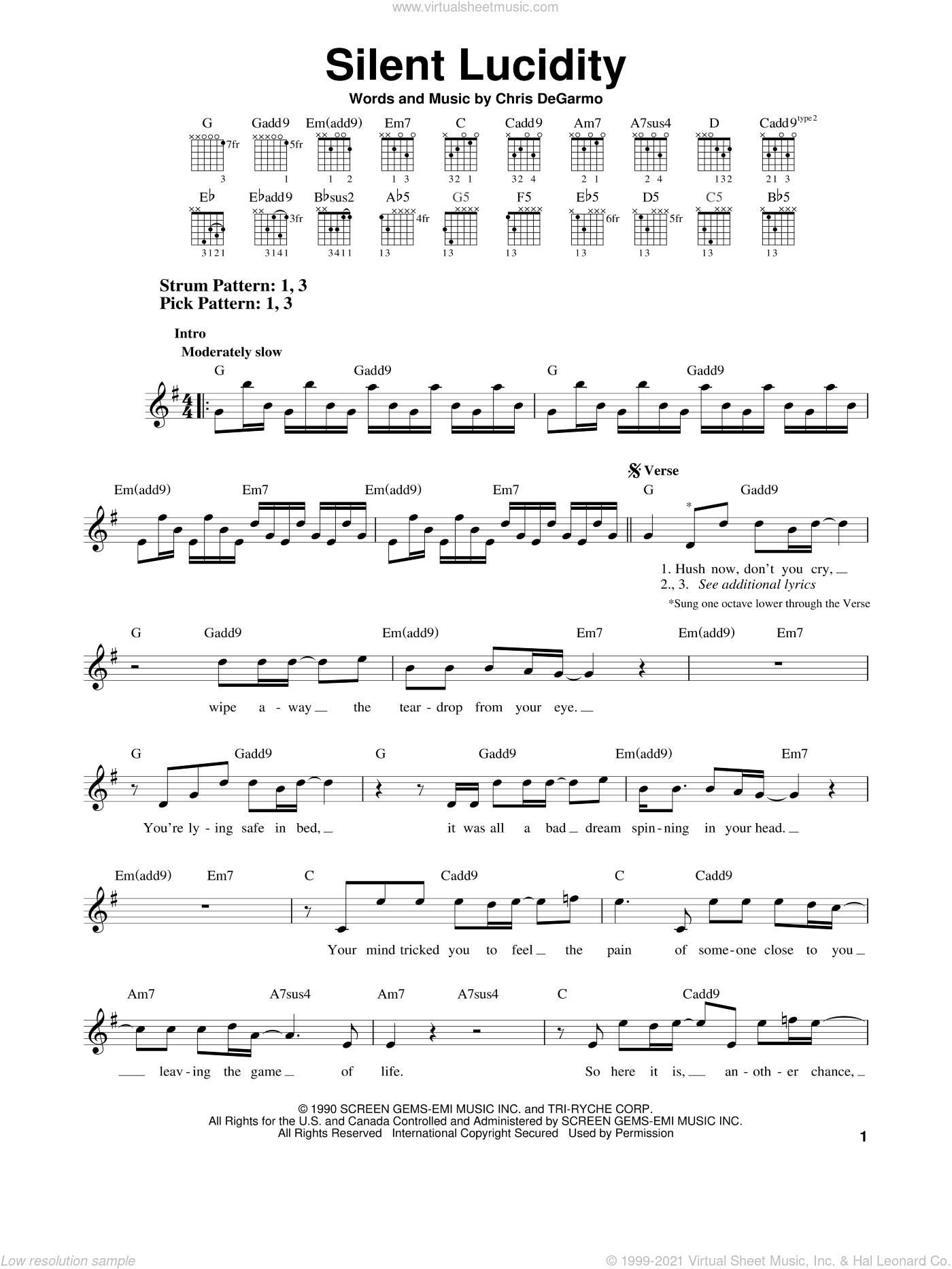 Queensryche - Silent Lucidity sheet music for guitar solo (chords) v2