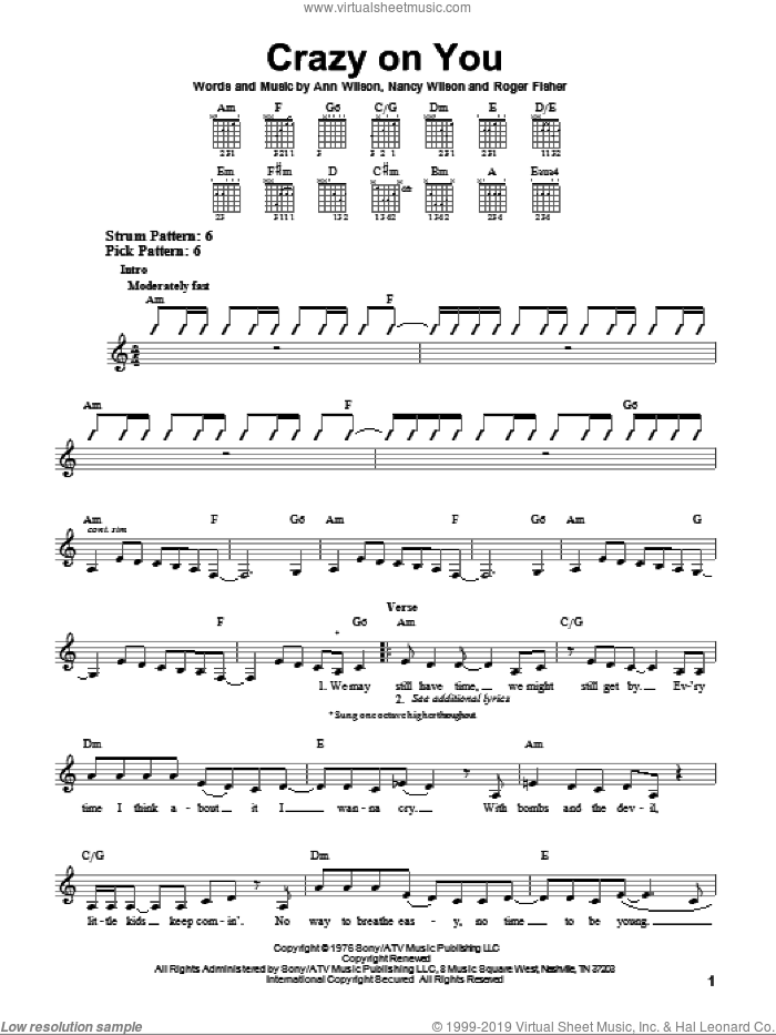 Crazy On You sheet music for guitar solo (chords) by Heart, Ann Wilson and Nancy Wilson, easy guitar (chords). Score Image Preview.