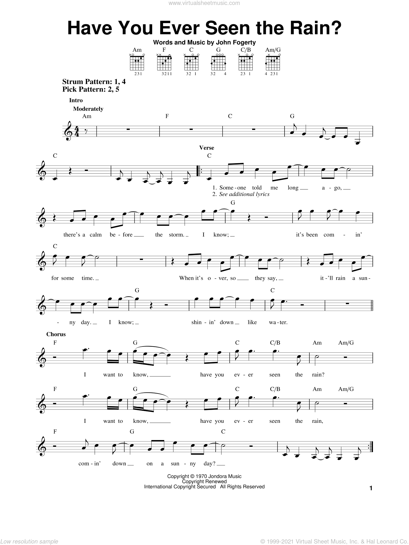 Have You Ever Seen The Rain? sheet music for guitar solo (chords) by Creedence Clearwater Revival and John Fogerty, easy guitar (chords)