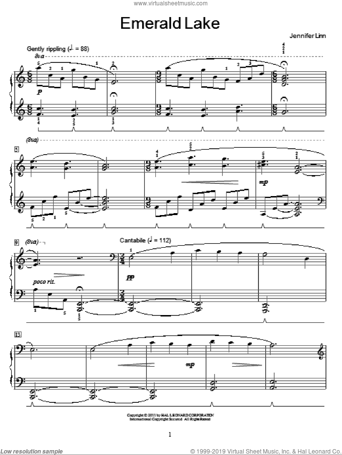 Emerald Lake sheet music for piano solo (elementary) by Jennifer Linn and Miscellaneous. Score Image Preview.