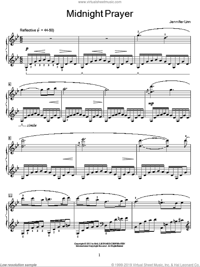 Midnight Prayer sheet music for piano solo (elementary) by Jennifer Linn and Miscellaneous, classical score, beginner piano (elementary). Score Image Preview.