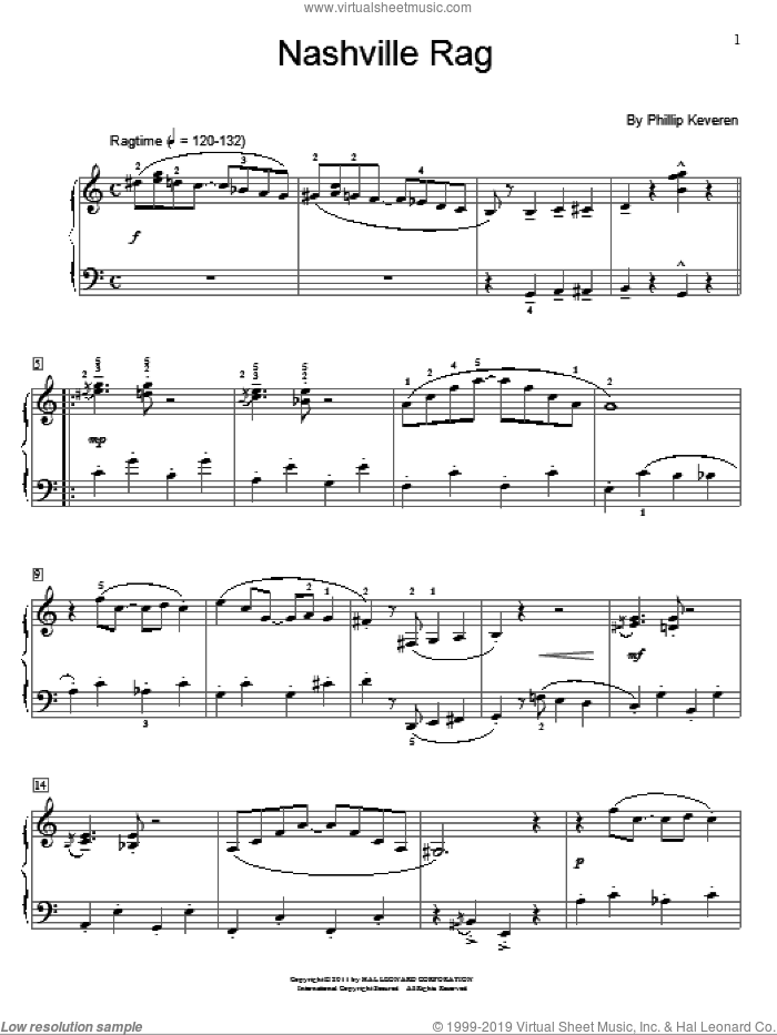 Nashville Rag sheet music for piano solo (elementary) by Phillip Keveren and Miscellaneous, beginner piano (elementary). Score Image Preview.