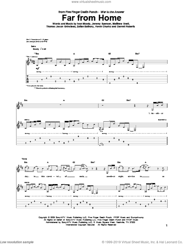 Far From Home sheet music for guitar (tablature) by Five Finger Death Punch, Darrell Roberts, Ivan Moody, Jeremy Spencer, Kevin Churko, Matthew Snell, Thomas Jason Grinstead and Zoltan Bathory, intermediate skill level