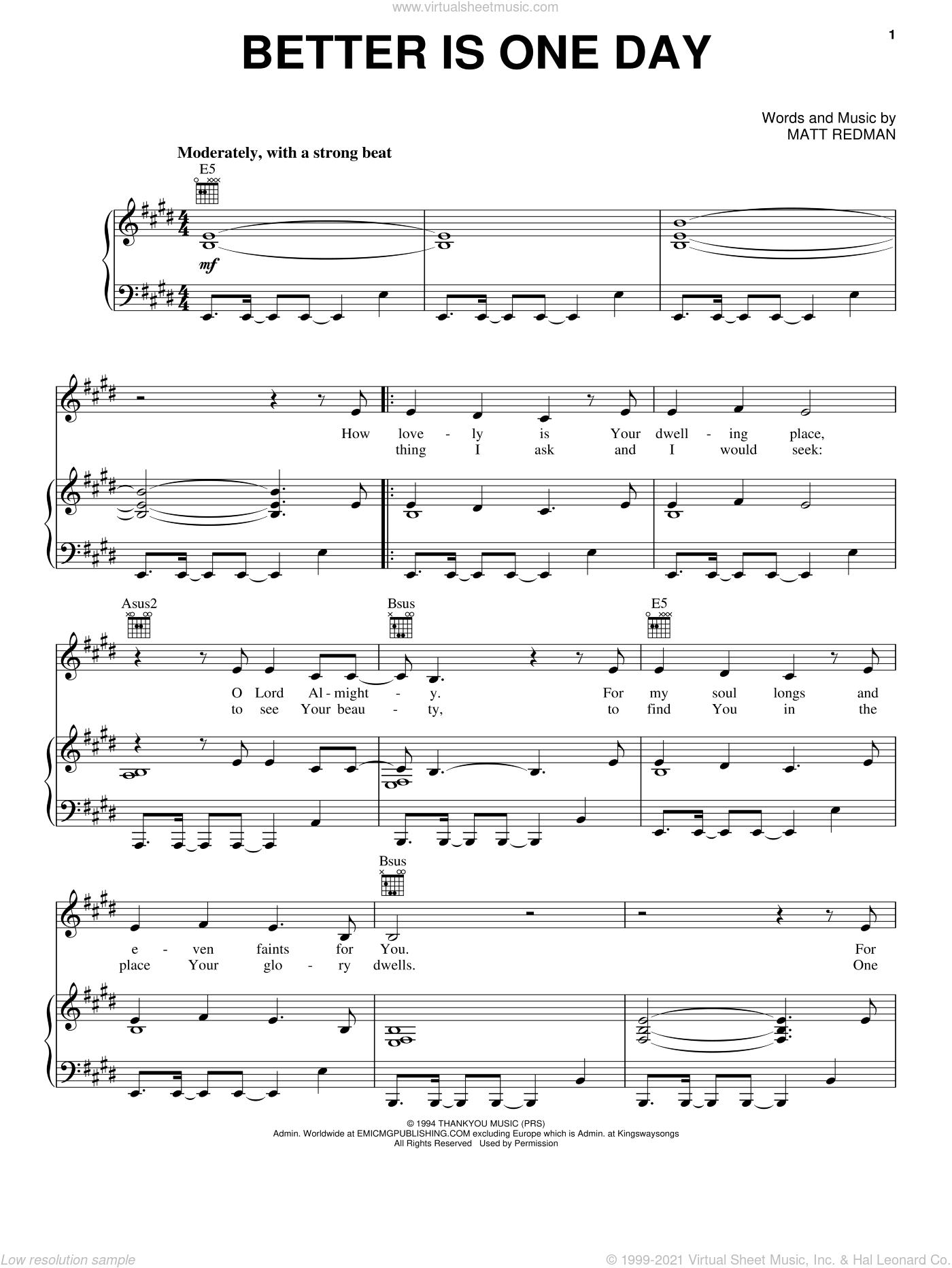 Better Is One Day sheet music for voice, piano or guitar by Matt Redman and Passion Band, intermediate skill level