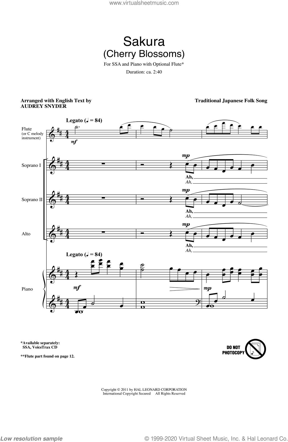 Sakura (Cherry Blossoms) sheet music for choir (soprano voice, alto voice, choir)  and Audrey Snyder
