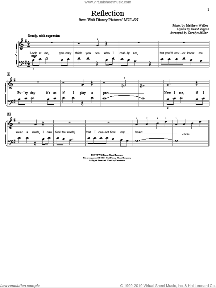 Reflection sheet music for piano solo (elementary) by Matthew Wilder, Carolyn Miller and David Zippel. Score Image Preview.
