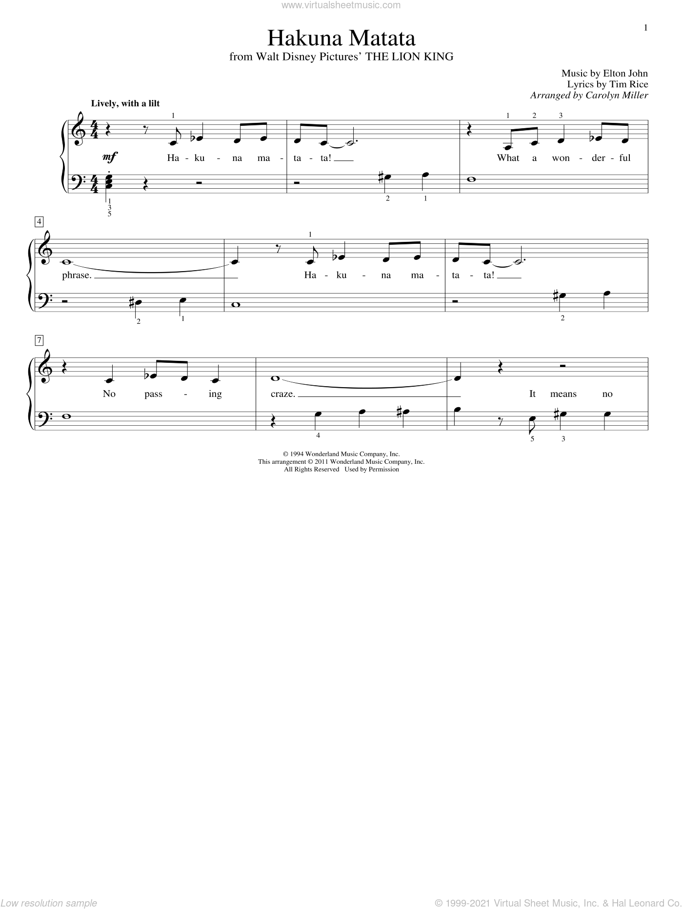Hakuna Matata sheet music for piano solo (elementary) by Tim Rice, Carolyn Miller and Elton John. Score Image Preview.