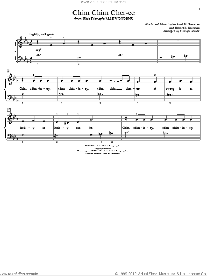Chim Chim Cher-ee sheet music for piano solo (elementary) by Sherman Brothers, Carolyn Miller, Richard M. Sherman and Robert B. Sherman. Score Image Preview.