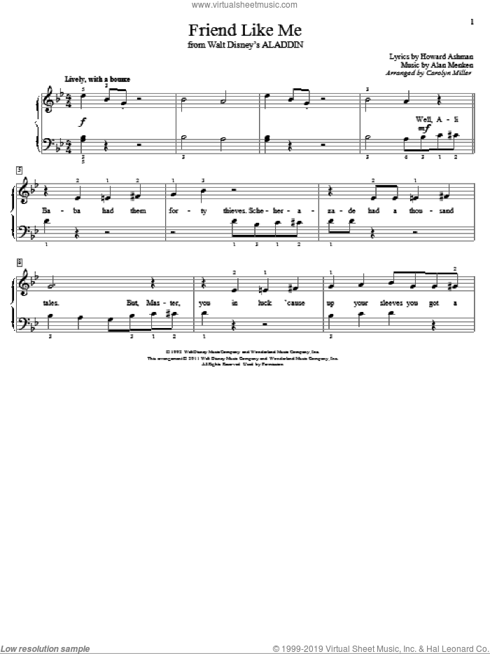 Friend Like Me sheet music for piano solo (elementary) by Howard Ashman
