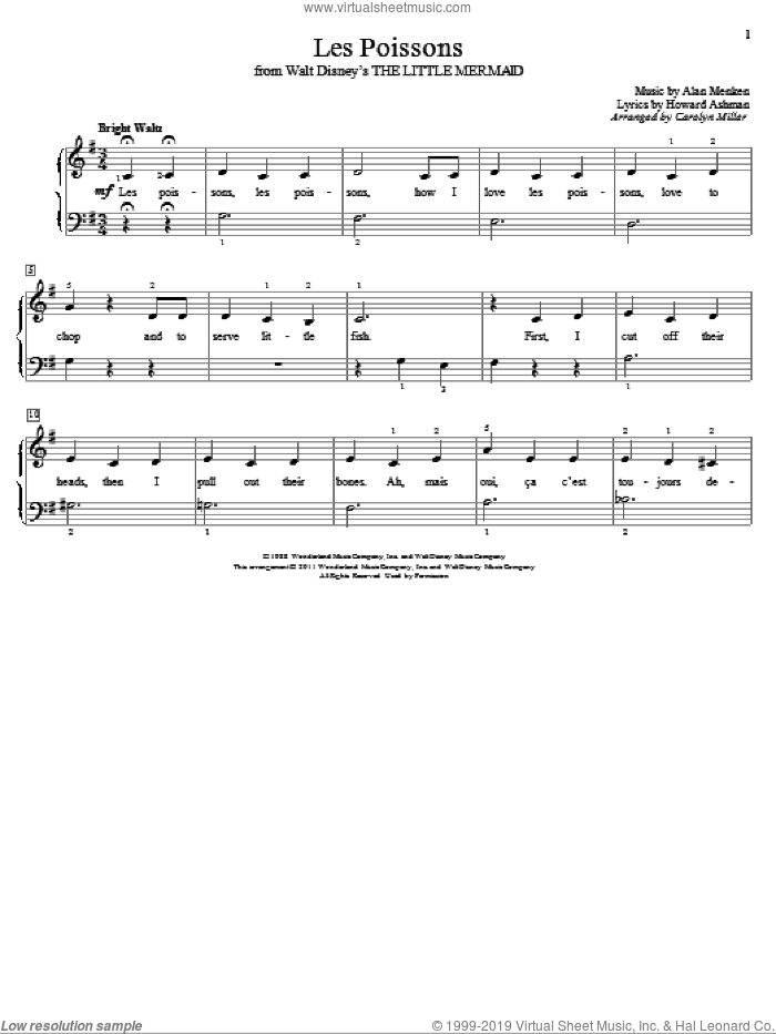 Les Poissons (from The Little Mermaid) sheet music for piano solo (elementary) by Alan Menken, Carolyn Miller, The Little Mermaid (Movie) and Howard Ashman, beginner piano (elementary)