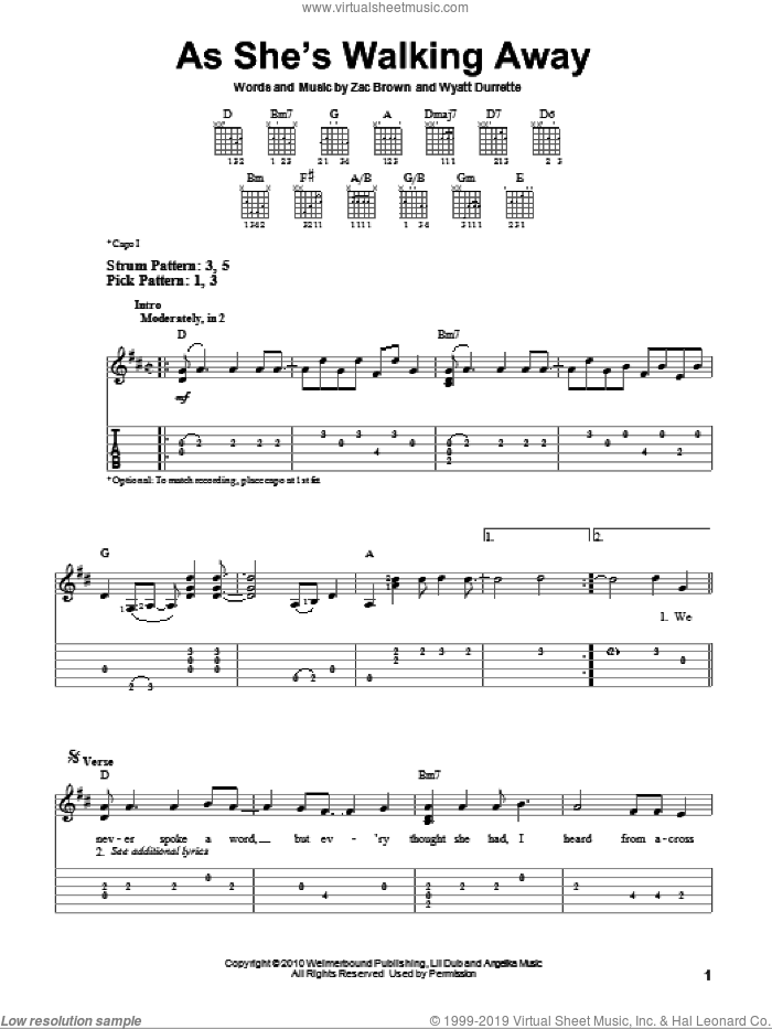 As She's Walking Away sheet music for guitar solo (easy tablature) by Zac Brown Band featuring Alan Jackson, Alan Jackson and Zac Brown Band, Wyatt Durrette and Zac Brown, easy guitar (easy tablature)