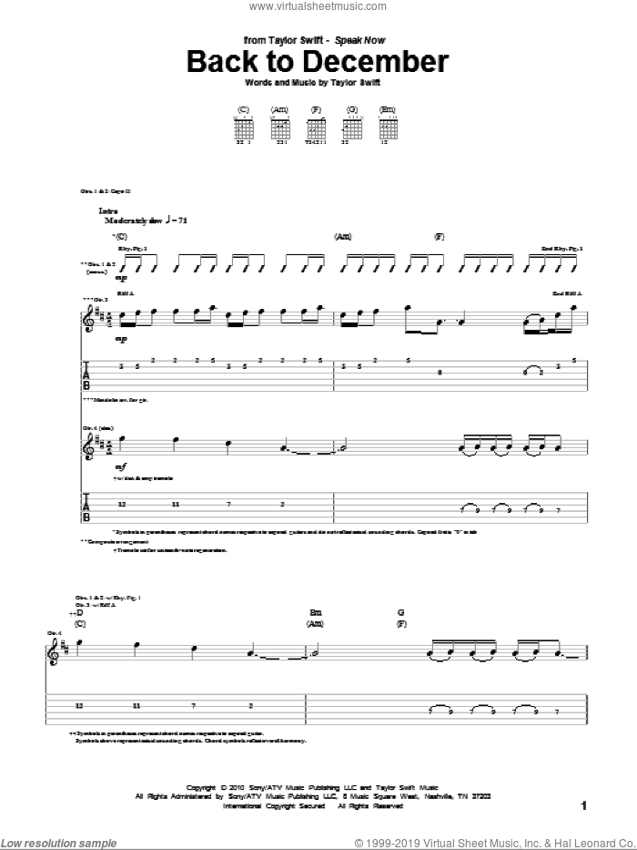 Back To December sheet music for guitar (tablature) by Taylor Swift, intermediate skill level