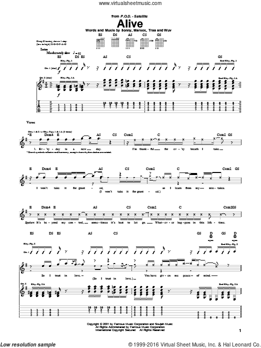 Alive sheet music for guitar (tablature) by Traa. Score Image Preview.