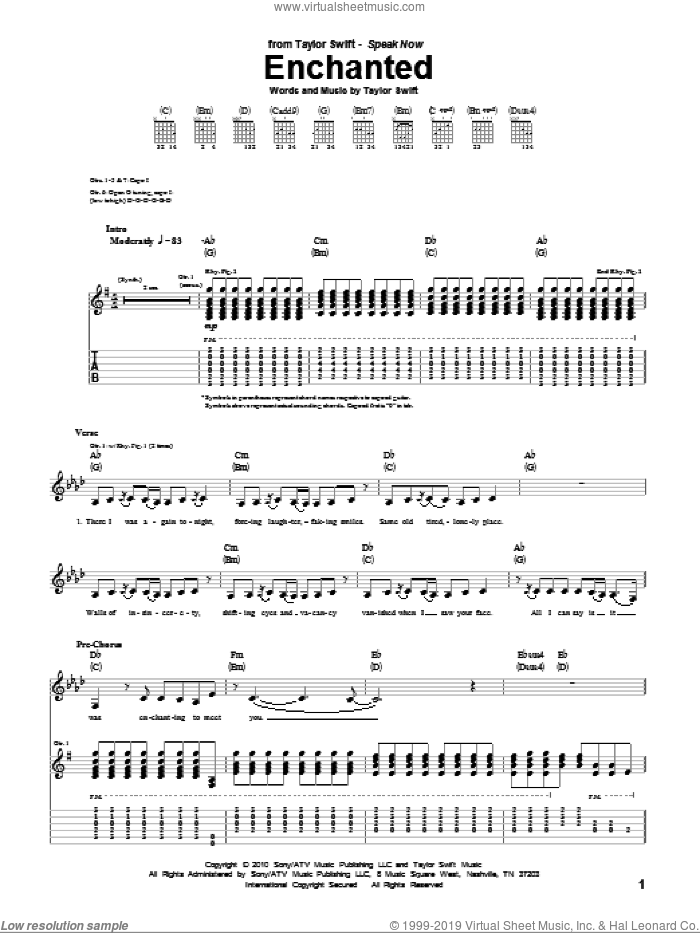 Enchanted sheet music for guitar (tablature) by Taylor Swift. Score Image Preview.