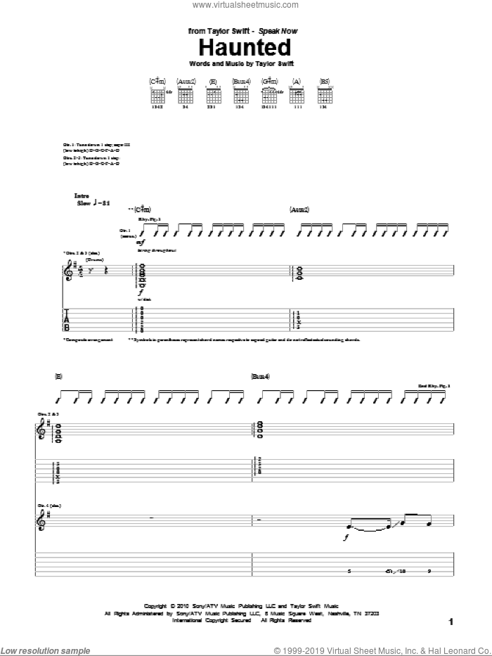 Haunted sheet music for guitar (tablature) by Taylor Swift. Score Image Preview.