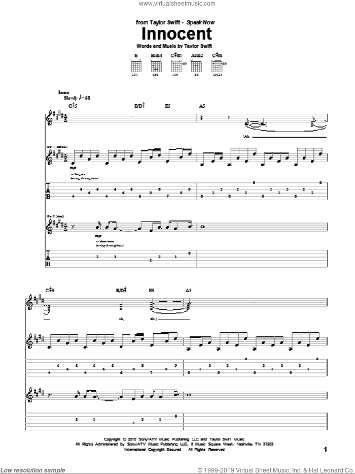 Innocent sheet music for guitar (tablature) by Taylor Swift, intermediate skill level