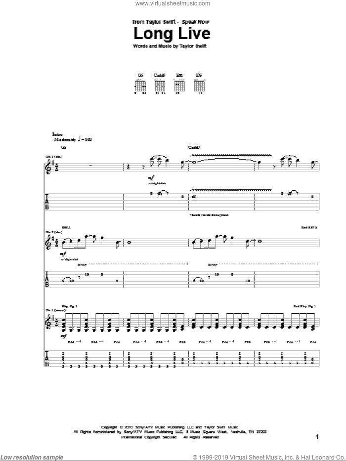 Long Live sheet music for guitar (tablature) by Taylor Swift, intermediate. Score Image Preview.