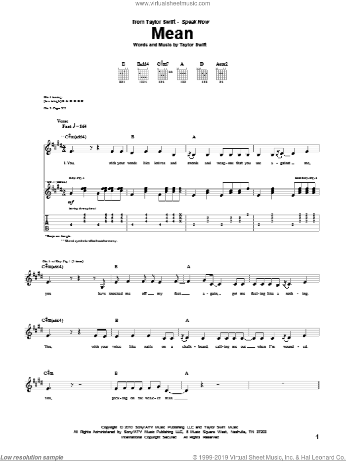Mean sheet music for guitar (tablature) by Taylor Swift. Score Image Preview.
