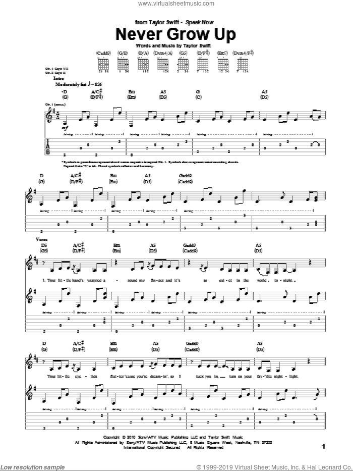Swift Never Grow Up Sheet Music For Guitar Tablature Pdf
