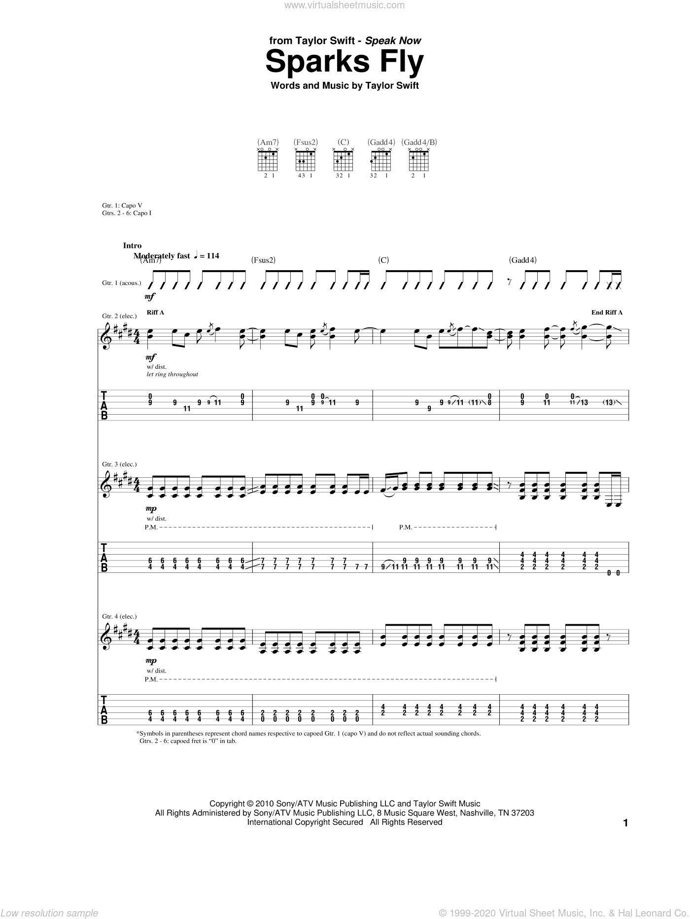 Sparks Fly sheet music for guitar (tablature) by Taylor Swift