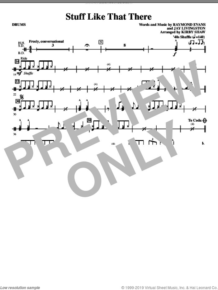 Stuff Like That There (complete set of parts) sheet music for orchestra/band by Jay Livingston, Ray Evans and Kirby Shaw, intermediate skill level
