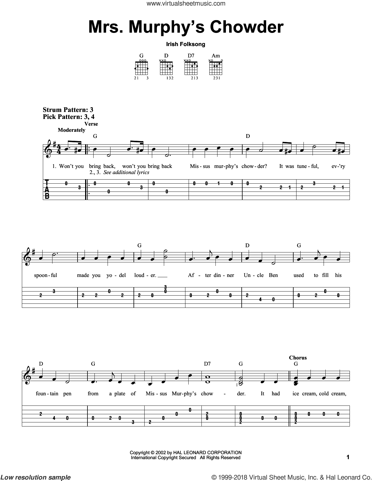 Mrs. Murphy's Chowder sheet music for guitar solo (easy tablature), easy guitar (easy tablature)