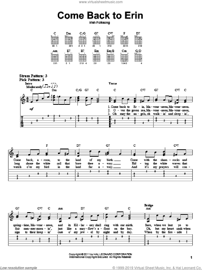 Come Back To Erin sheet music for guitar solo (easy tablature), easy guitar (easy tablature). Score Image Preview.