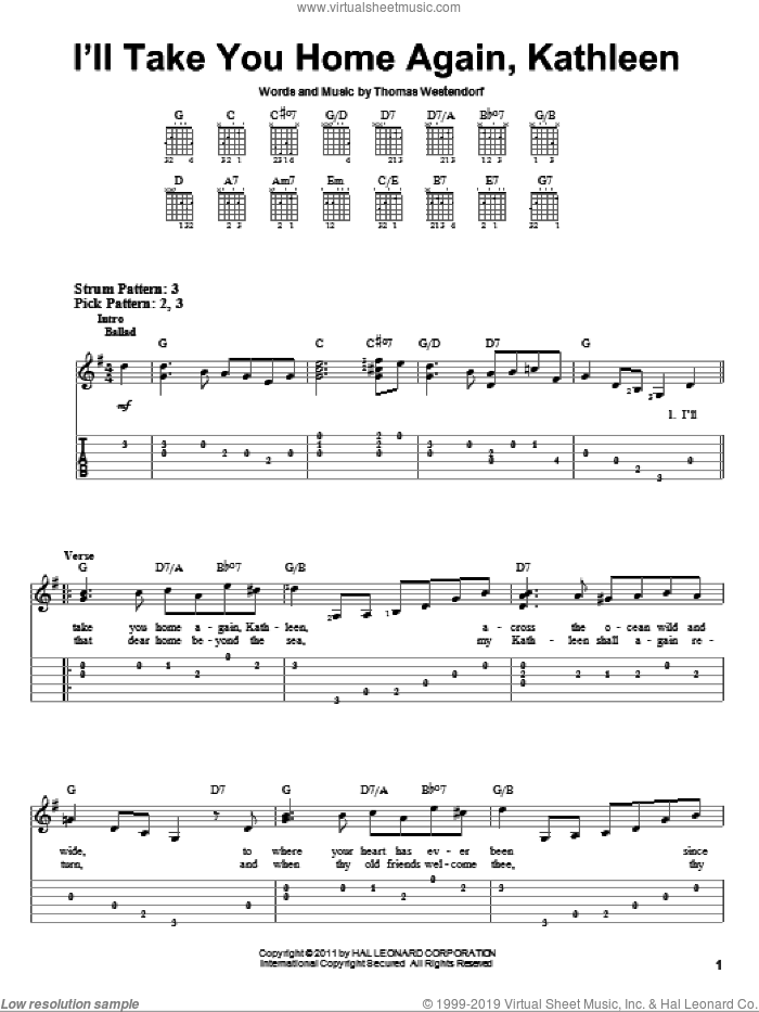 I'll Take You Home Again, Kathleen sheet music for guitar solo (easy tablature) by Thomas Westendorf