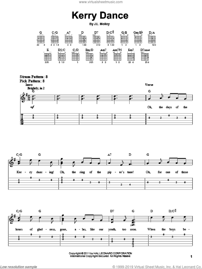 Kerry Dance sheet music for guitar solo (easy tablature) by James Molloy