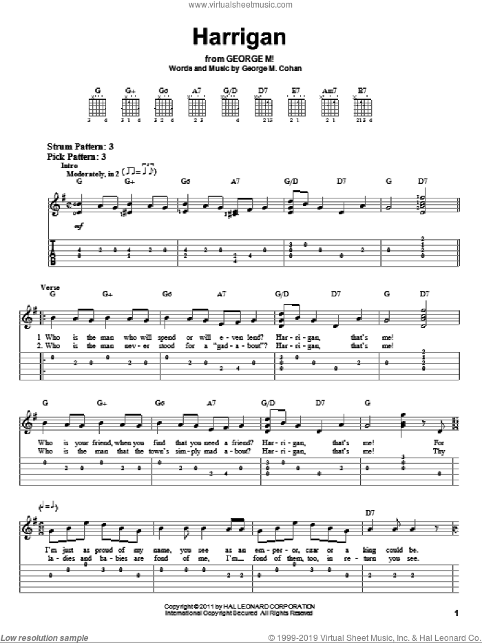 Harrigan sheet music for guitar solo (easy tablature) by George Cohan. Score Image Preview.
