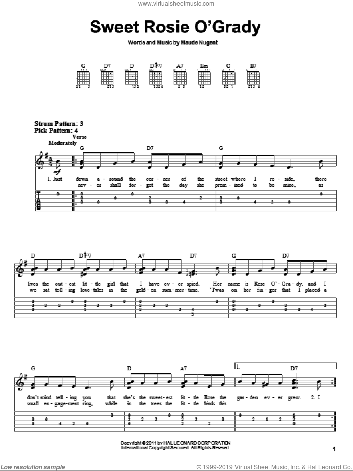 Sweet Rosie O'Grady sheet music for guitar solo (easy tablature) by Maude Nugent, easy guitar (easy tablature)