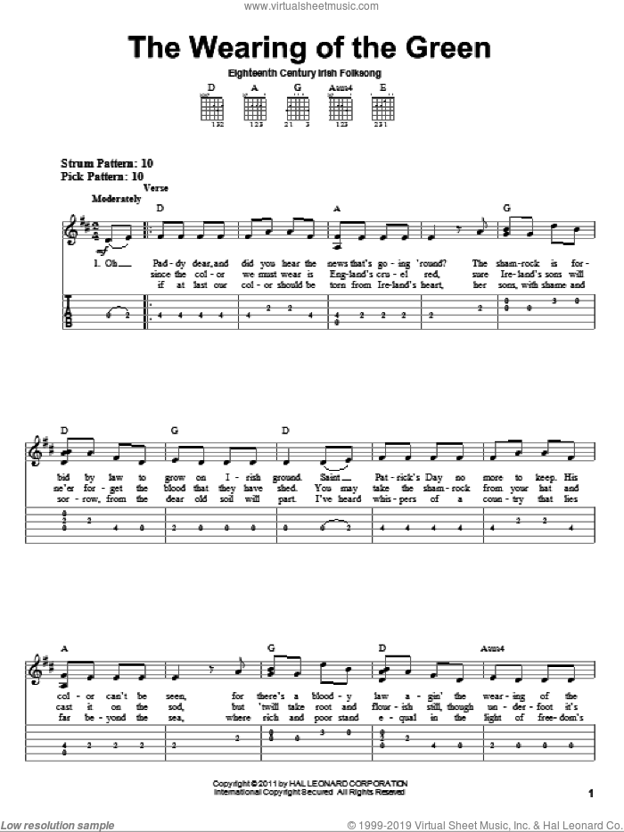 The Wearing Of The Green sheet music for guitar solo (easy tablature). Score Image Preview.