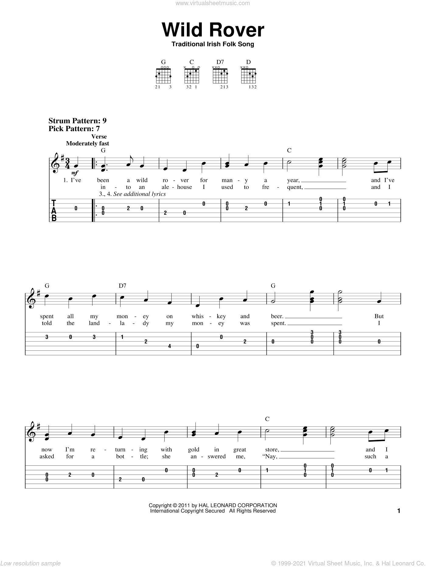 Wild Rover sheet music for guitar solo (easy tablature)