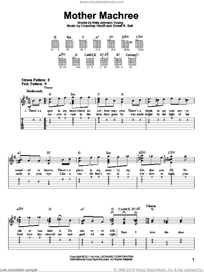 Mother Machree sheet music for guitar solo (easy tablature) by Rida Johnson Young, Chauncey Olcott and Ernest R. Ball. Score Image Preview.