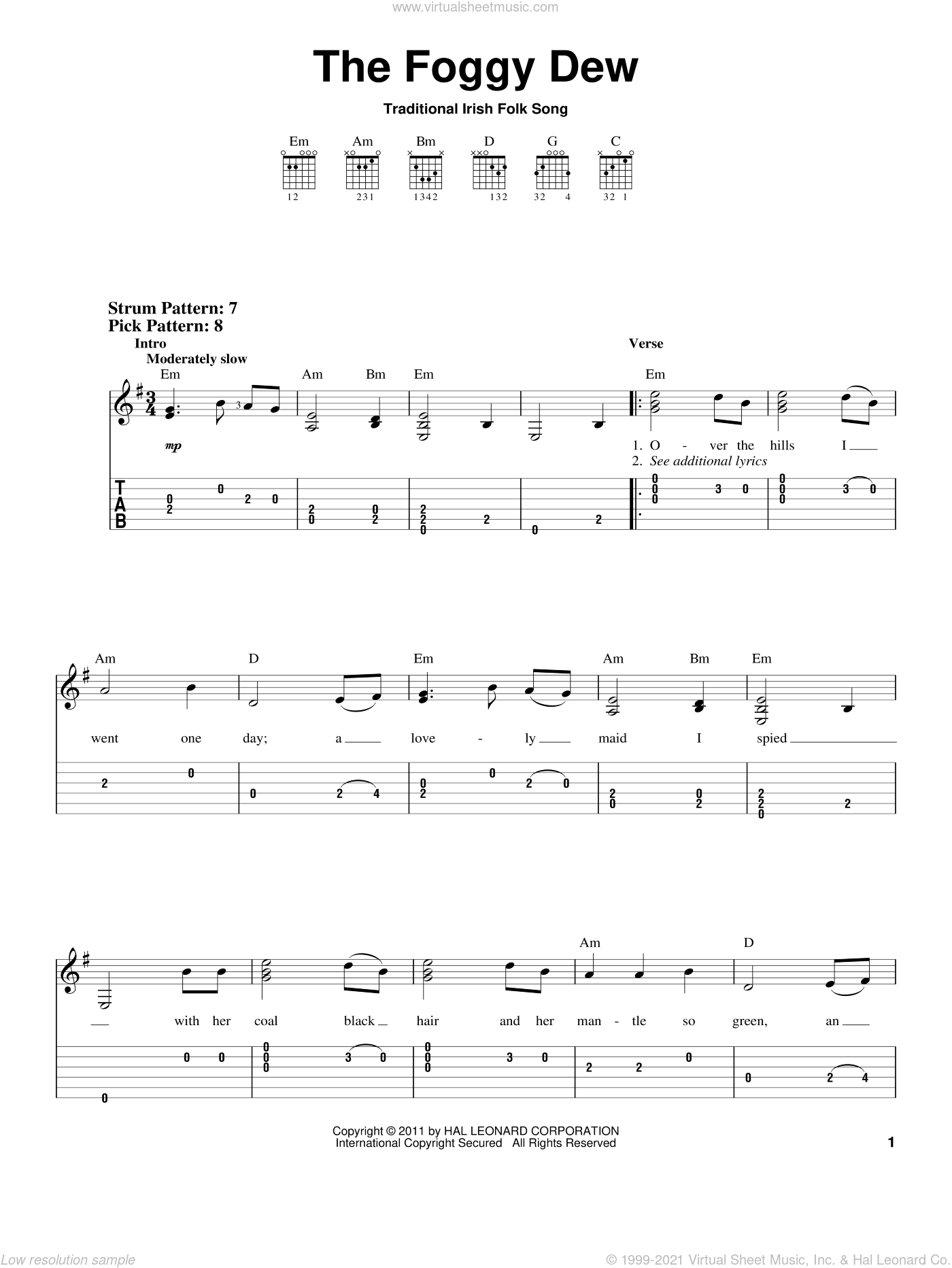 The Foggy Dew sheet music for guitar solo (easy tablature). Score Image Preview.