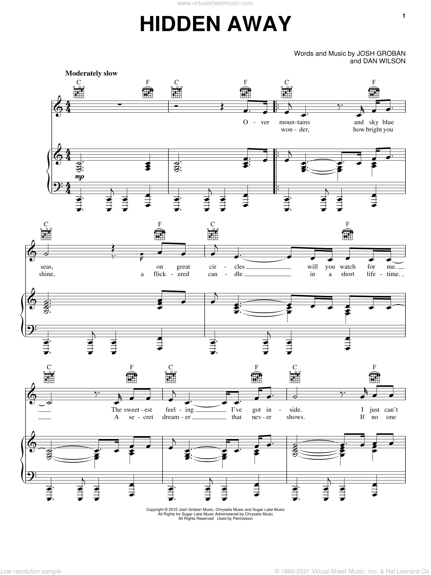Hidden Away sheet music for voice, piano or guitar by Dan Wilson and Josh Groban. Score Image Preview.