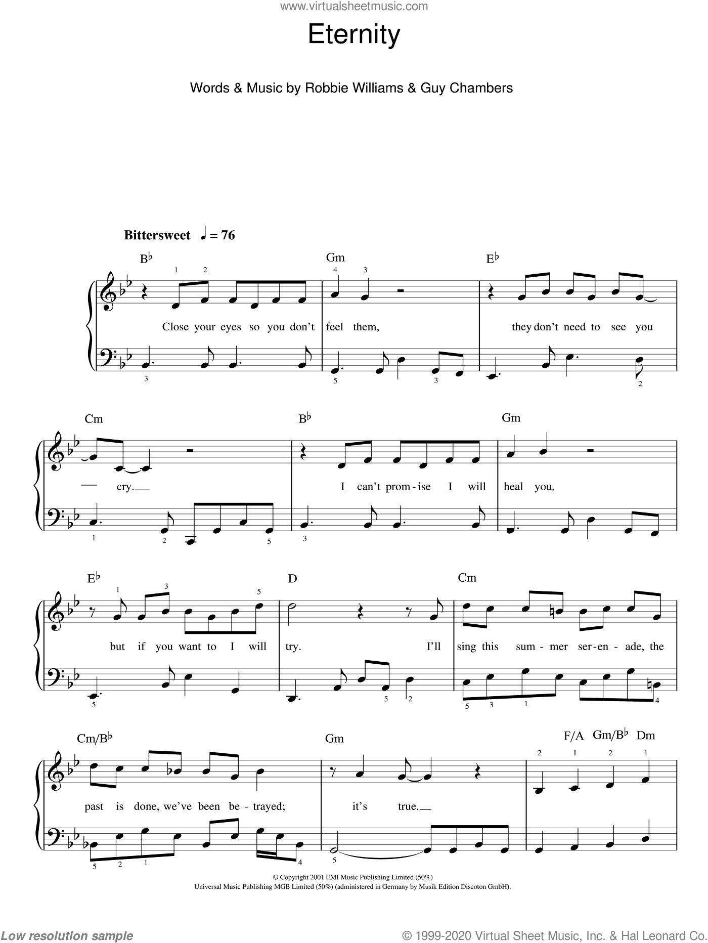 Eternity sheet music for piano solo by Robbie Williams and Guy Chambers, easy. Score Image Preview.