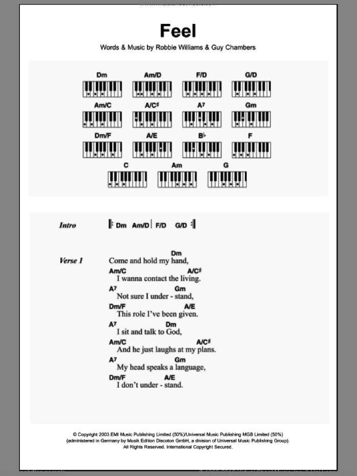 Feel sheet music for piano solo (chords, lyrics, melody) by Guy Chambers and Robbie Williams. Score Image Preview.