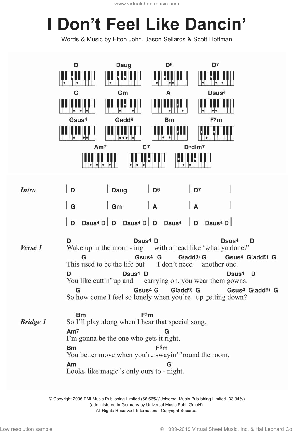 I Don't Feel Like Dancin' sheet music for piano solo (chords, lyrics, melody) by Scott Hoffman and Elton John. Score Image Preview.